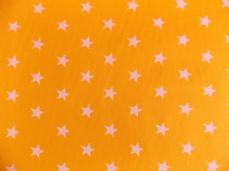 Yellow with 20mm White Stars 100% Cotton Fabric